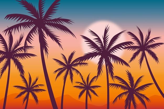 Fundo com tema de silhuetas de palmeiras
