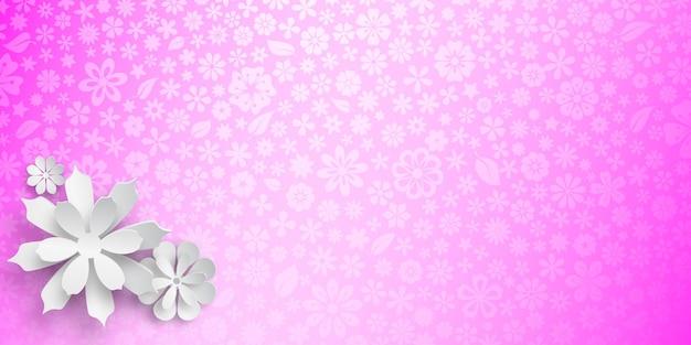 Fundo com textura floral em cores roxas e várias flores grandes de papel branco com sombras suaves