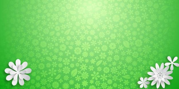 Fundo com textura floral em cores verdes e várias flores grandes de papel branco com sombras suaves