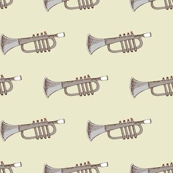 Fundo com trompete de instrumento musical. concerto e festa,