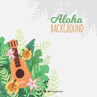 Fundo com ukulele e decoração de folhas