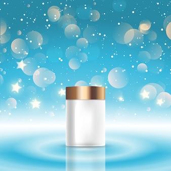 Fundo com um frasco cosmético em branco em um design de luzes de bokeh