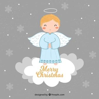 Fundo com um lindo anjo de natal em uma nuvem