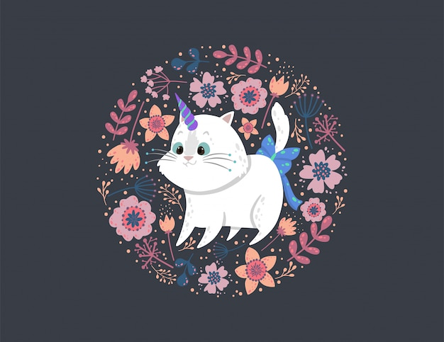 Fundo com um unicórnio gato fofo, folhas e flores.
