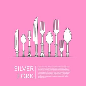 Fundo com utensílios de mesa mão desenhada no bolso de papel com lugar para ilustração de texto