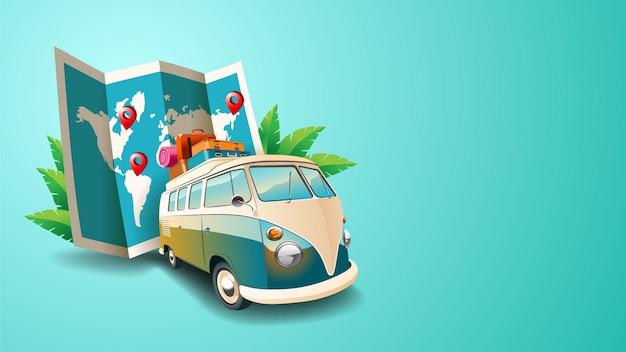 Fundo com van e mapa de viagem
