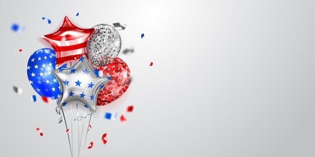 Fundo com vários balões coloridos nas cores da bandeira dos eua e pedaços de serpentina brilhante. ilustração para o dia da independência dos estados unidos da américa