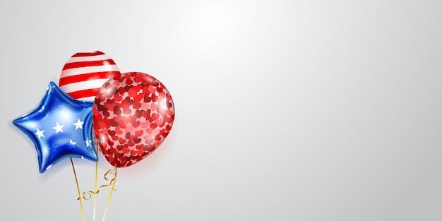 Fundo com vários balões coloridos nas cores da bandeira dos eua. ilustração para o dia da independência dos estados unidos da américa