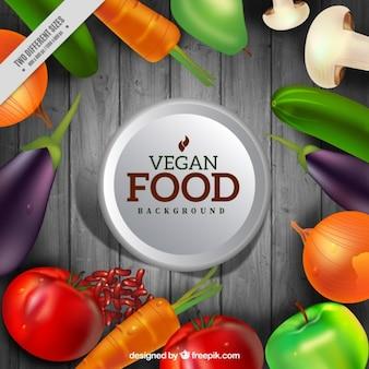 Fundo com vegetais e frutas realistas