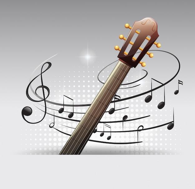 Fundo com violão e notas de música