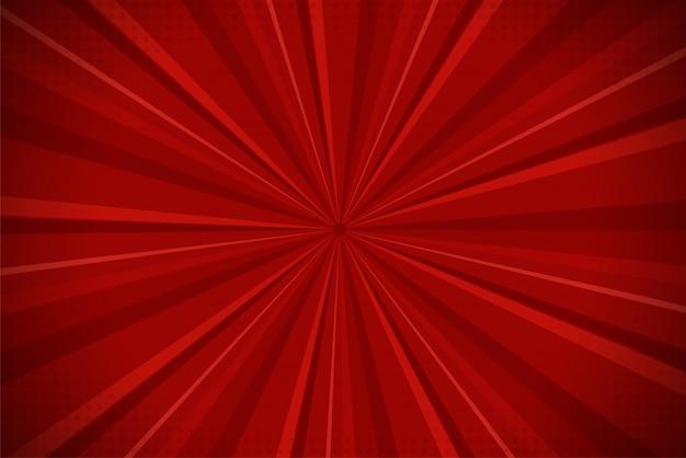 Fundo cômico abstrato vermelho da luz solar dos desenhos animados de ray.