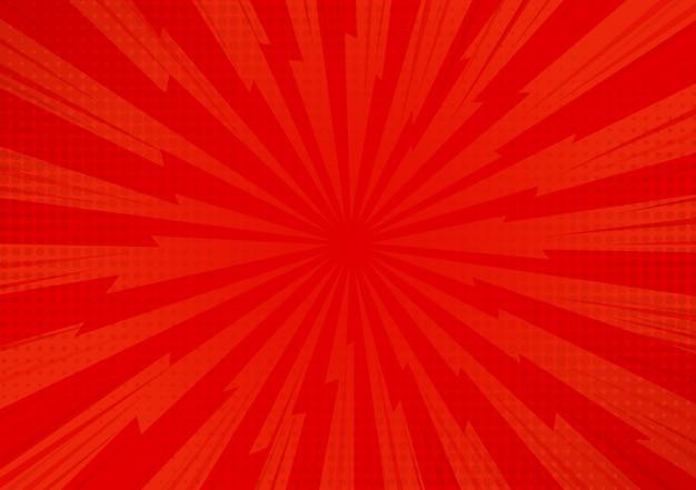 Fundo cômico abstrato vermelho da luz solar dos desenhos animados.