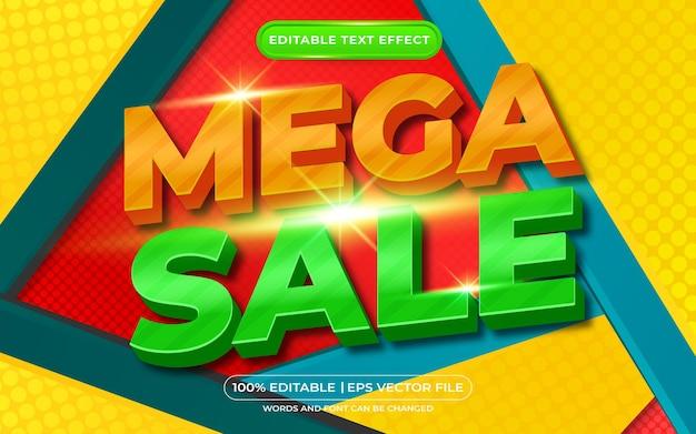 Fundo cômico com efeito de texto editável mega venda em 3d