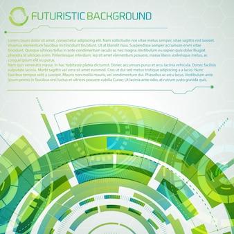 Fundo conceitual de tecnologia virtual moderna com título superior futurista em semicírculo em camadas verdes e grande espaço para descrição de texto editável