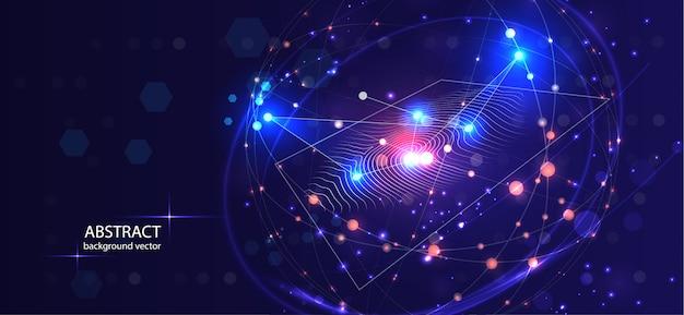 Fundo conceptual digital abstrato da segurança da tecnologia da impressão digital.