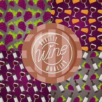 Fundo copo de vinho barril uvas decoração