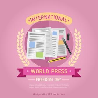 Fundo cor-de-rosa com elementos do jornalismo