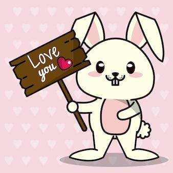 Fundo cor-de-rosa com silhuetas dos corações e animal bonito do kawaii