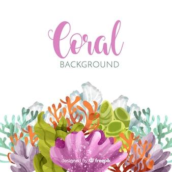 Fundo coral aquarela