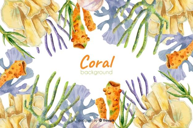 Fundo coral colorido em aquarela