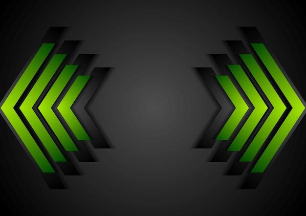 Fundo corporativo da geometria das setas verdes. desenho vetorial