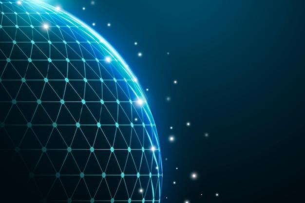 Fundo corporativo de tecnologia de grade digital do globo azul Vetor grátis