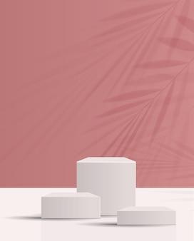 Fundo cosmético para marca de produto e geometria de apresentação de embalagem moldagem de círculo
