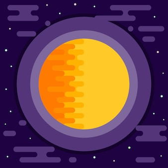 Fundo cósmico. sol abstrato brilhante em espaço aberto.