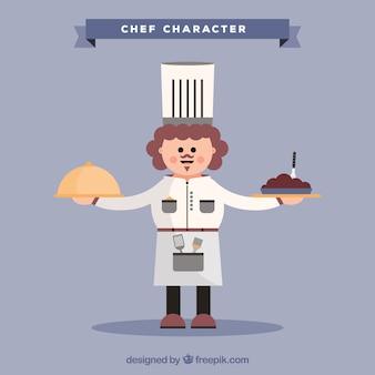 Fundo, cozinheiro, personagem, dois, pratos