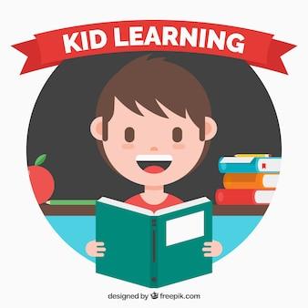 Fundo criança feliz com um livro em design plano