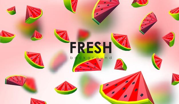 Fundo criativo com frutas de baixo poli. ilustração com melancia poligonal.