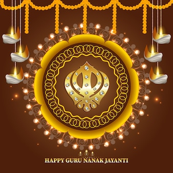 Fundo criativo com o símbolo sikh ek onkar feliz guru nanak jayanti
