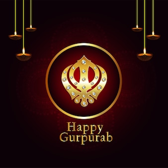 Fundo criativo com o símbolo sikh ek onkar happy gurpurab
