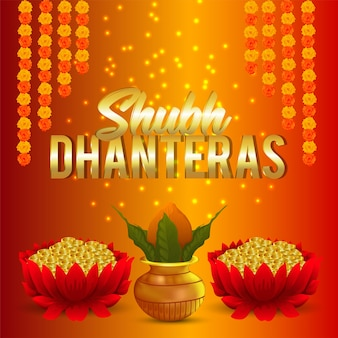 Fundo criativo de shubh dhanteras e lótus com moeda de ouro e kalash