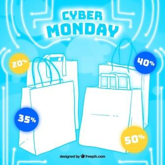 Fundo cyber segunda-feira com sacos desenhados à mão