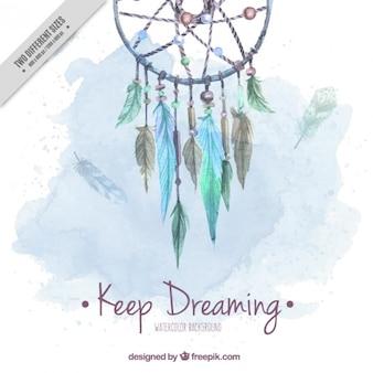 Fundo da aguarela bonito com apanhador de sonhos