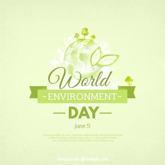 Fundo da aguarela com a fita verde para o dia mundial do meio ambiente