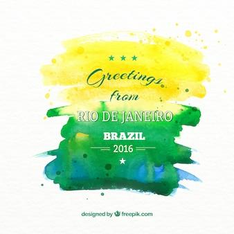 Fundo da aguarela com as cores do brasil
