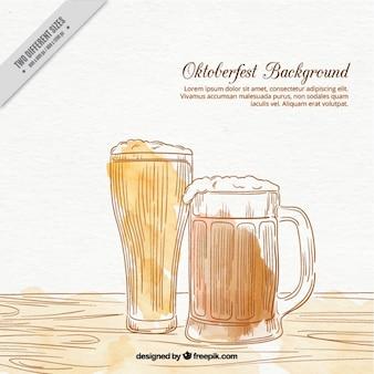 Fundo da aguarela com cerveja desenhada à mão