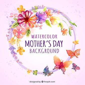 Fundo da aguarela com flores e borboletas para o dia da mãe