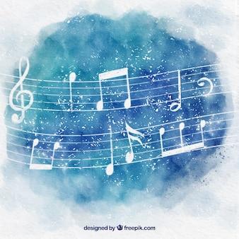 Fundo da aguarela com notas musicais