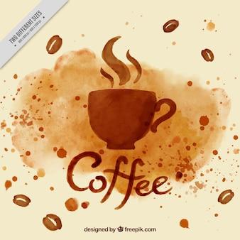 Fundo da aguarela copo de café