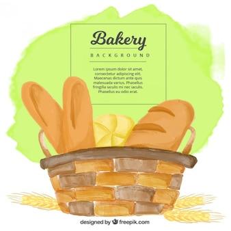 Fundo da aguarela da cesta com pães