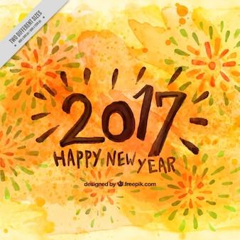 Fundo da aguarela de ano novo com fogos de artifício