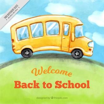 Fundo da aguarela de ônibus escolar