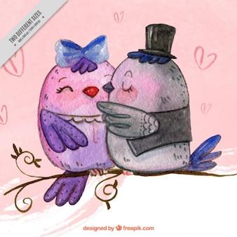 Fundo da aguarela de pássaros bonitos no amor