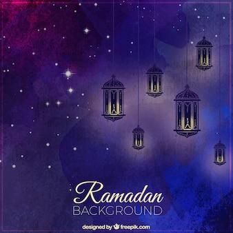Fundo da aguarela do ramadã com lanternas e estrelas