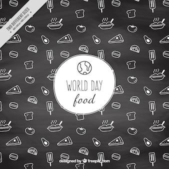 Fundo da ardósia com esboços do dia mundial de alimentos