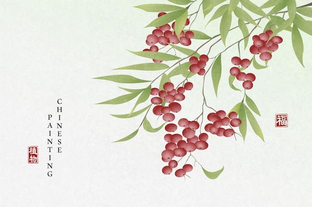 Fundo da arte da pintura com tinta chinesa planta feijão vermelho
