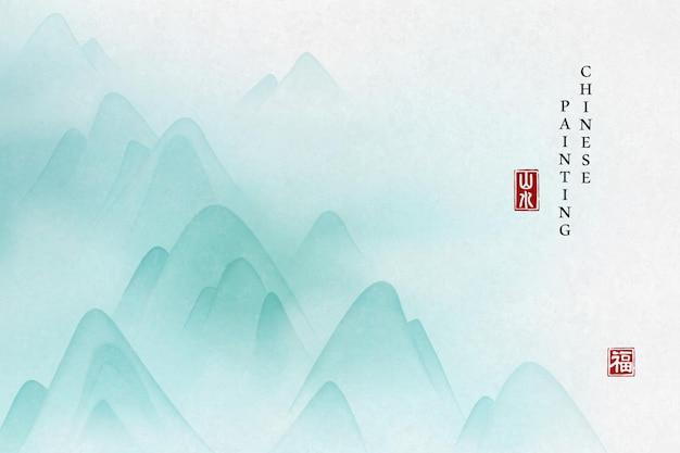 Fundo da arte da pintura de tinta chinesa com vista da paisagem da montanha e névoa enevoada.